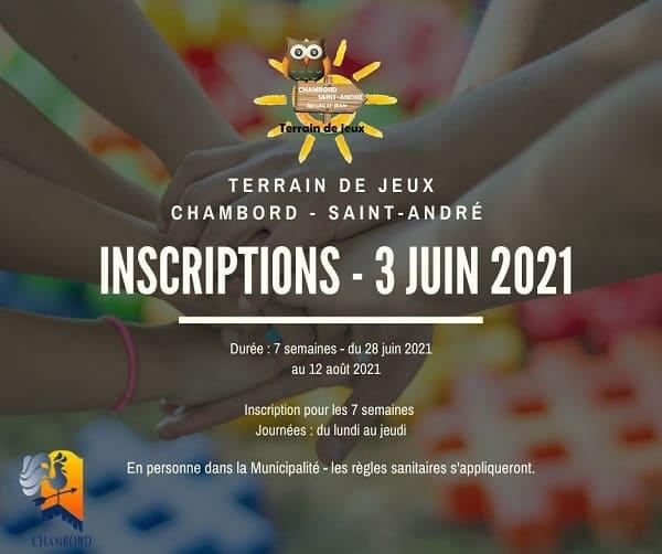 INSCRIPTION TERRAIN DE JEUX 2021